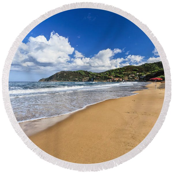 La Biodola Beach - Isle Of Elba Round Beach Towel
