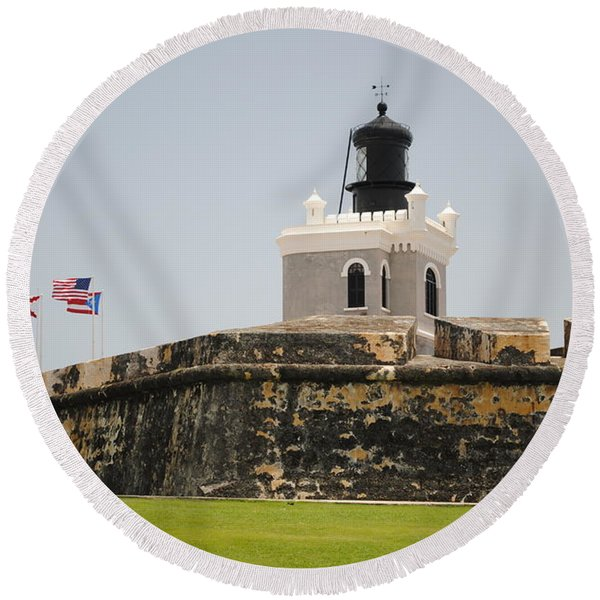 La Fortaleza Light Tower Round Beach Towel