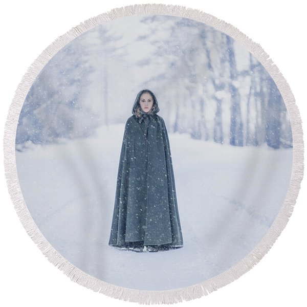 Lady Of The Winter Forest Round Beach Towel