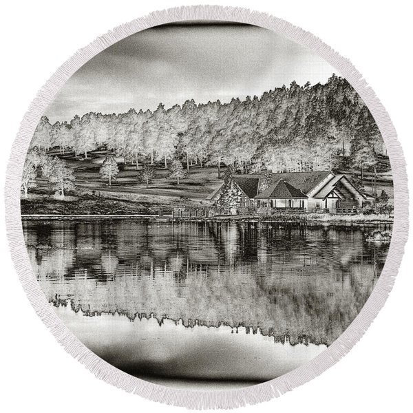 Lake House Reflection Round Beach Towel