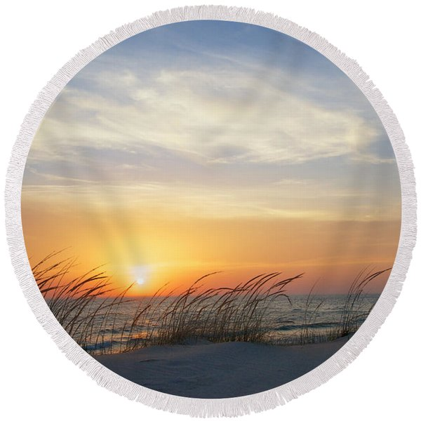 Round Beach Towel featuring the photograph Lake Michigan Sunset With Dune Grass by Mary Lee Dereske
