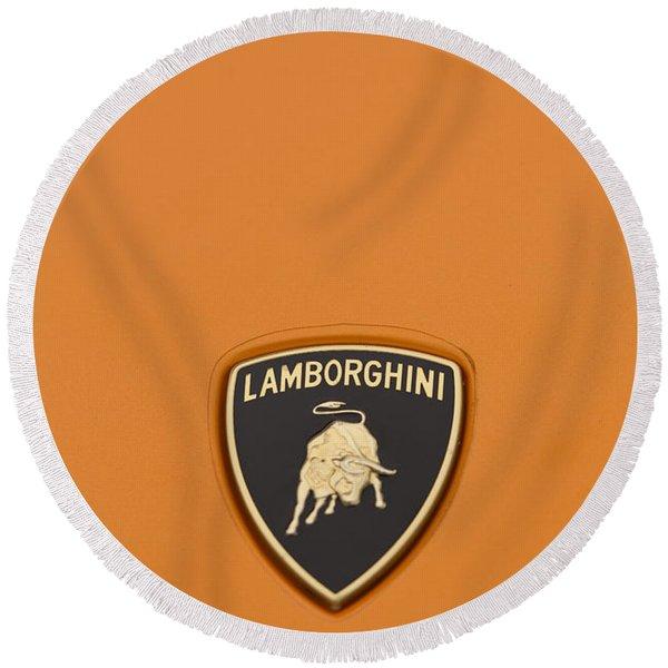 Lambo Hood Ornament Orange Round Beach Towel