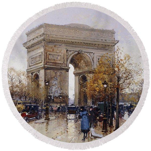 L'arc De Triomphe Paris Round Beach Towel