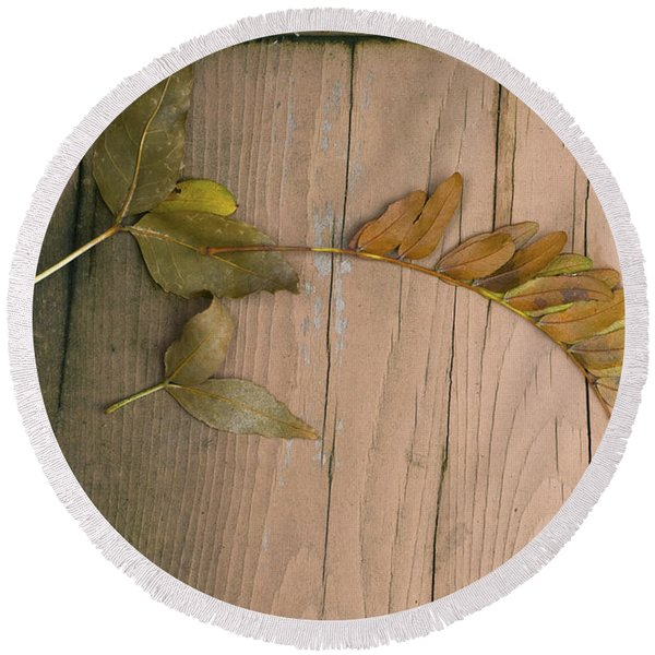 Leaves On A Wooden Step Round Beach Towel