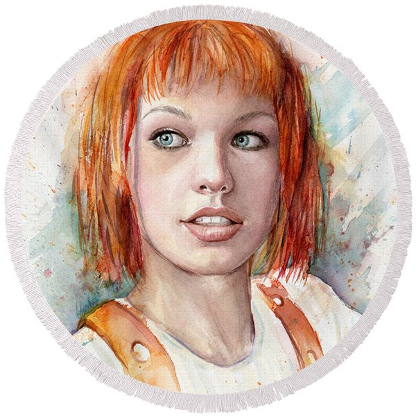 Leeloo Portrait Multipass The Fifth Element Round Beach Towel