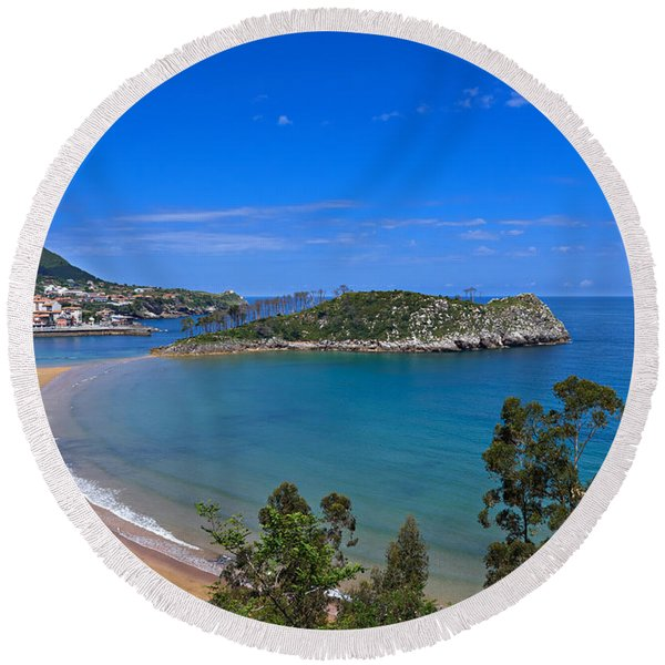 Lequeitio In Basque Country Spain Round Beach Towel