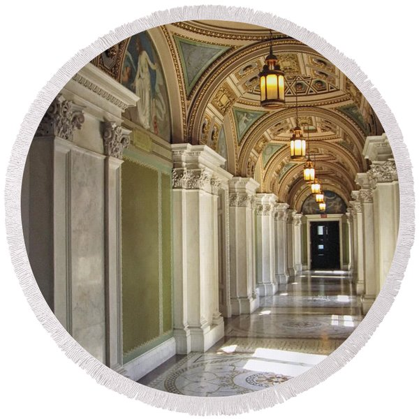 Round Beach Towel featuring the photograph Library Of Congress Hallway Washington Dc by Mary Lee Dereske