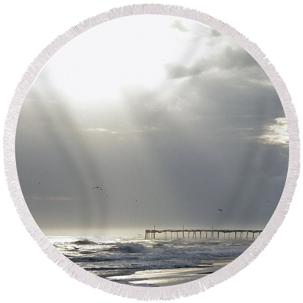 Light Moves Upon The Water - Frisco Nc Round Beach Towel