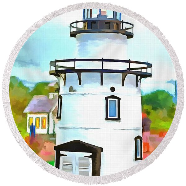 Lighthouse At Old Saybrook Point Round Beach Towel