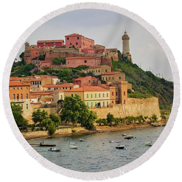 Lighthouse Of Portoferraio Round Beach Towel