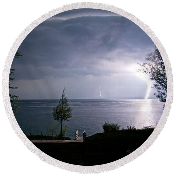 Round Beach Towel featuring the photograph Lightning On Lake Michigan At Night by Mary Lee Dereske