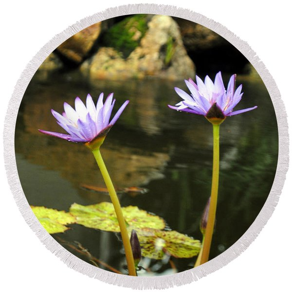 Lillies Of The Pond Round Beach Towel