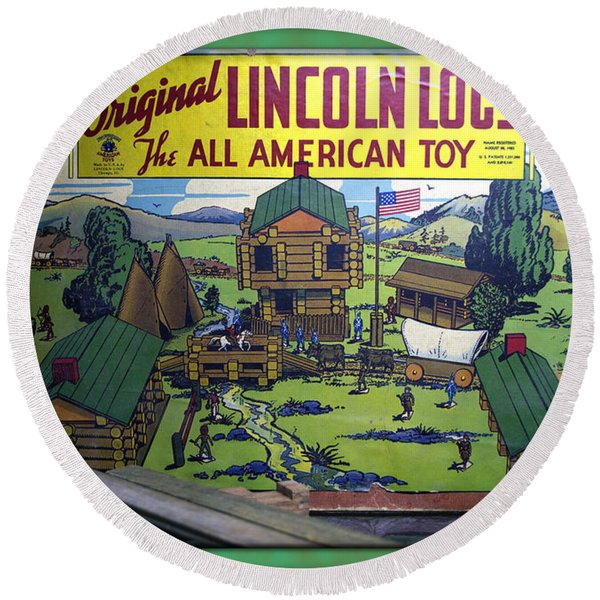 Lincoln Logs The American Toy Round Beach Towel
