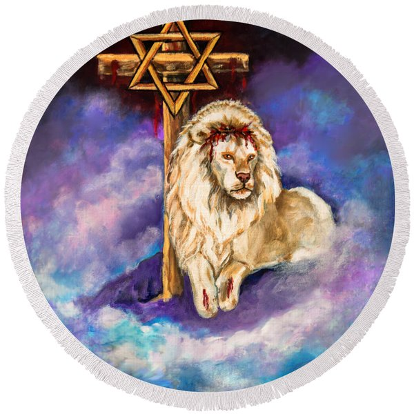Lion Of Judah Original Painting Forsale Round Beach Towel