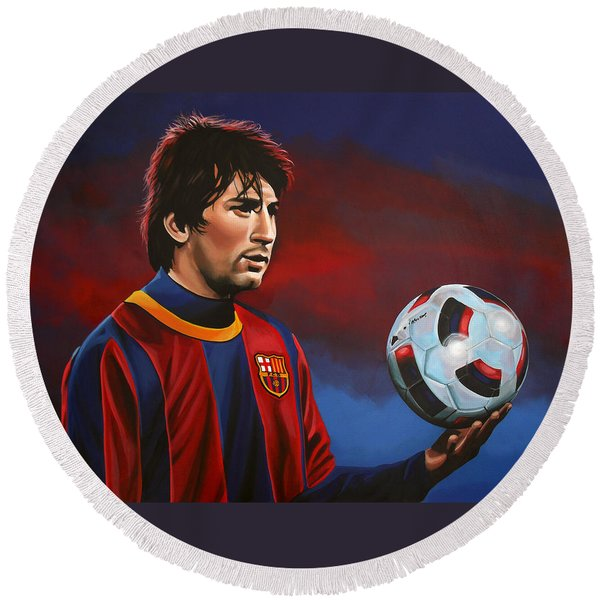 Lionel Messi 2 Round Beach Towel