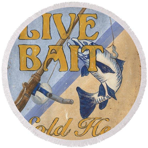 Live Bait Round Beach Towel