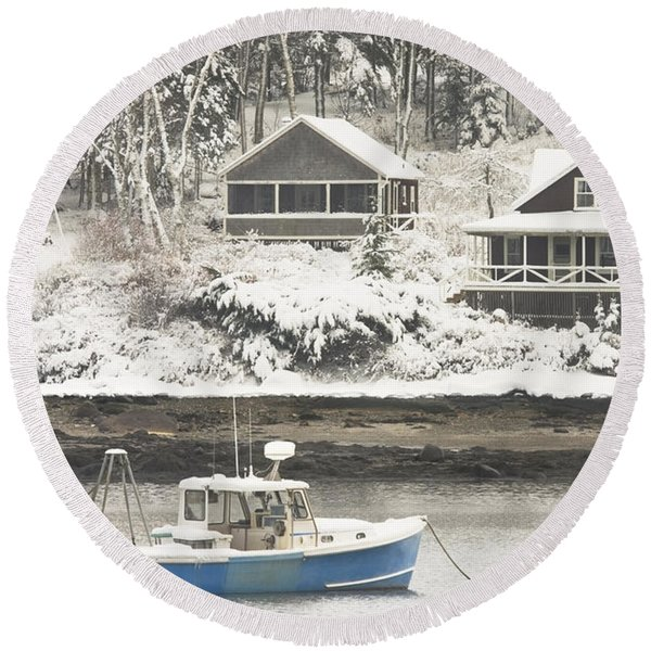 Lobster Boat After Snowstorm In Tenants Harbor Maine Round Beach Towel