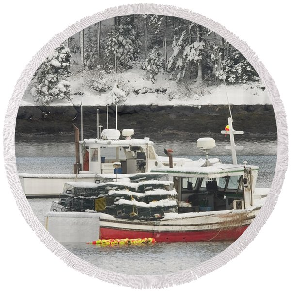 Lobster Boats After Snowstorm In Tenants Harbor Maine Round Beach Towel