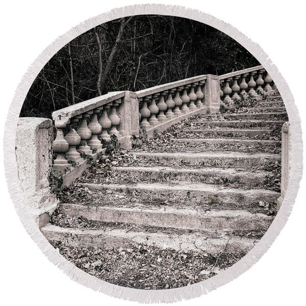 Lost Staircase Round Beach Towel