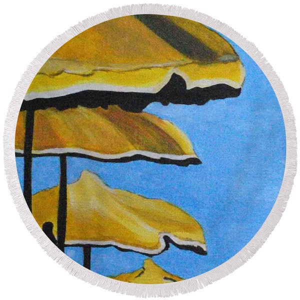 Lounging Under The Umbrellas On A Bright Sunny Day Round Beach Towel