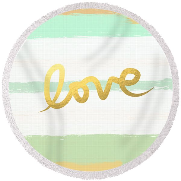 Love In Mint And Gold Round Beach Towel