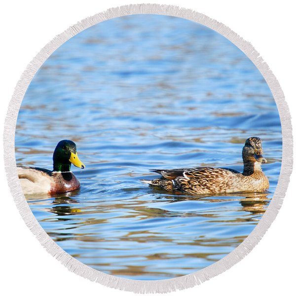 Male And Female Ducks Round Beach Towel