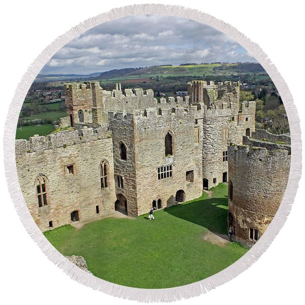 Ludlow Castle Chapel And Great Hall Round Beach Towel