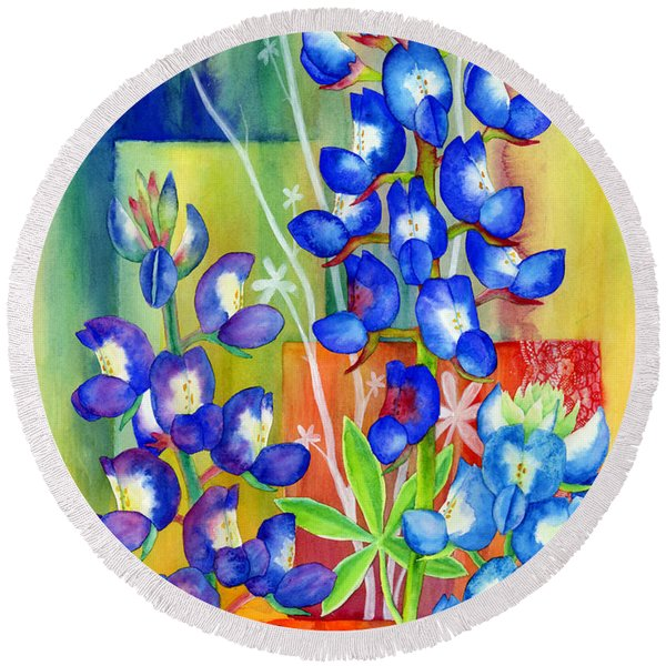 Lupinus Texensis Round Beach Towel