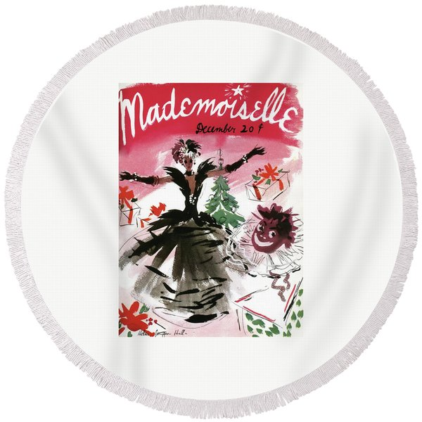 Mademoiselle Cover Featuring A Doll Surrounded Round Beach Towel