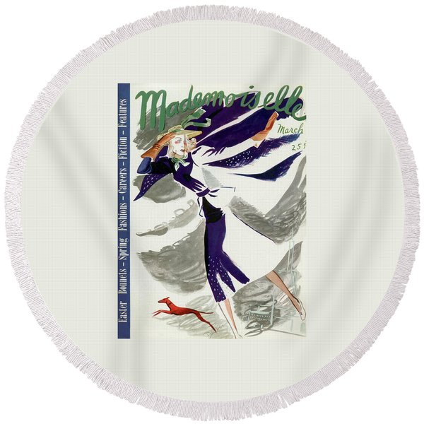 Mademoiselle Cover Featuring A Model With A Dog Round Beach Towel