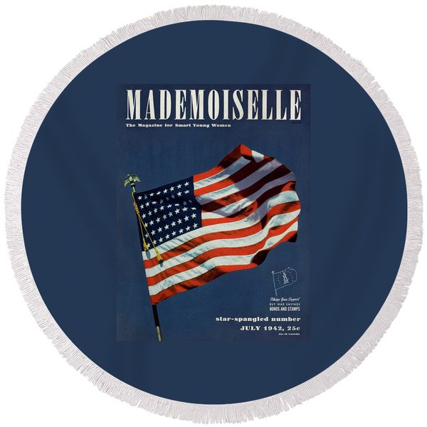 Mademoiselle Cover Featuring The U.s. Flag Round Beach Towel