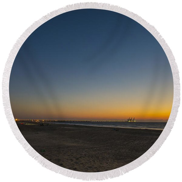 magical sunset moments at Caesarea  Round Beach Towel