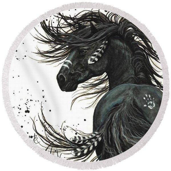 Majestic Spirit Horse  Round Beach Towel