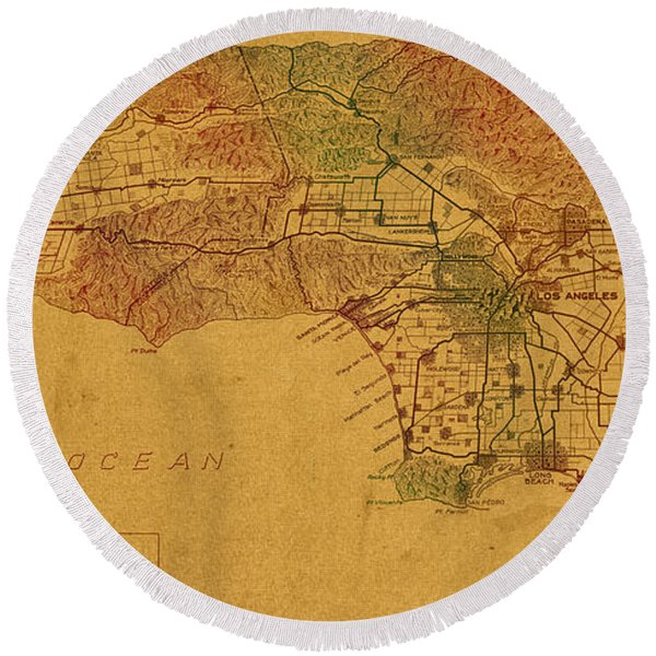 Map Of Los Angeles Hand Drawn And Colored Schematic Illustration From 1916 On Worn Parchment Round Beach Towel