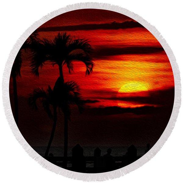 Marco Island Sunset 59 Round Beach Towel