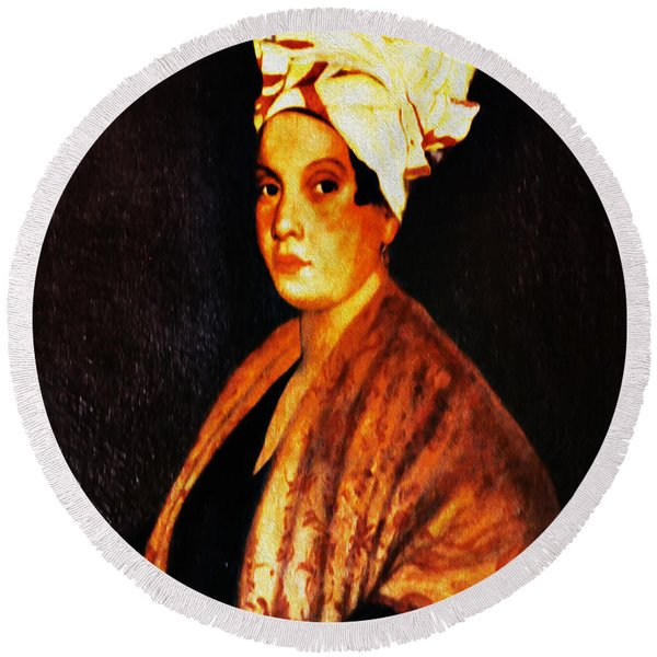 Round Beach Towel featuring the photograph Marie Laveau - New Orleans Witch by Digital Reproductions