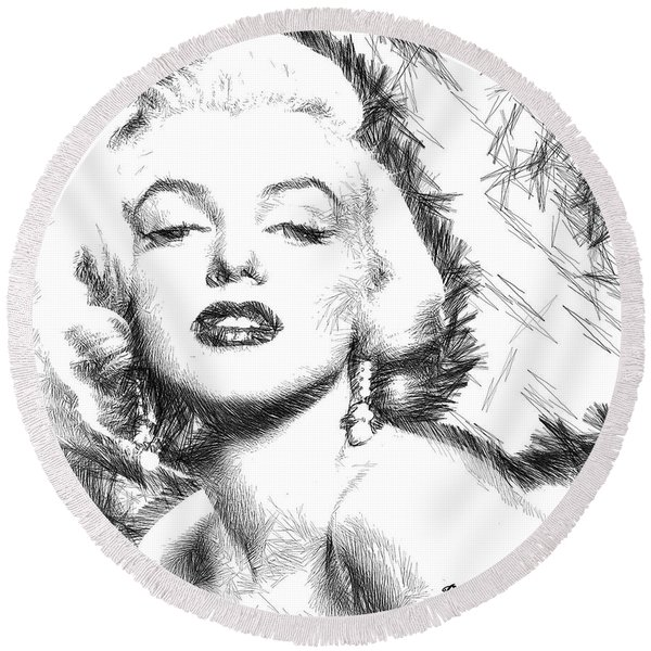 Marilyn Monroe - The One And Only  Round Beach Towel