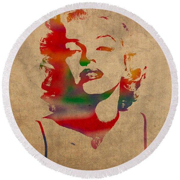 Marilyn Monroe Watercolor Portrait On Worn Distressed Canvas Round Beach Towel