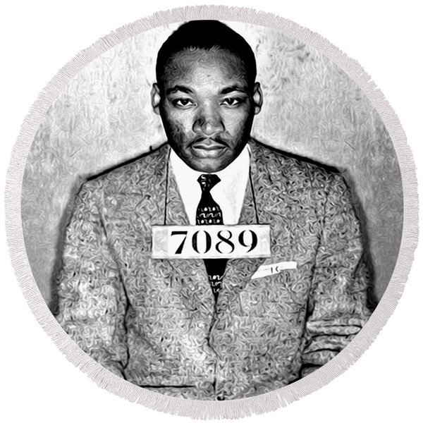 Round Beach Towel featuring the photograph Martin Luther King Mugshot by Digital Reproductions