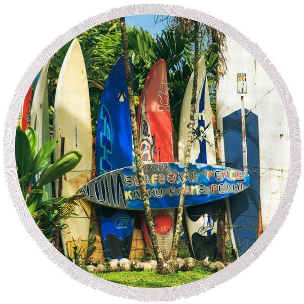 Maui Surfboard Fence - Peahi Hawaii Round Beach Towel
