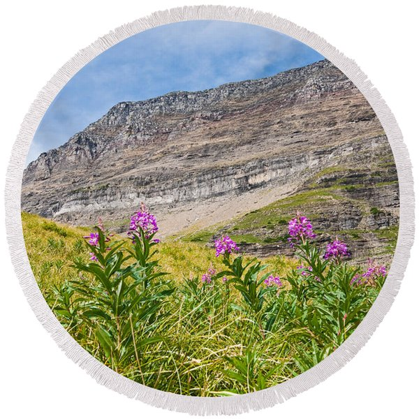 Meadow Of Fireweed Below The Continental Divide Round Beach Towel