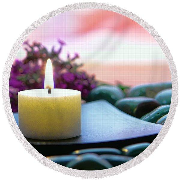 Meditation Candle Round Beach Towel