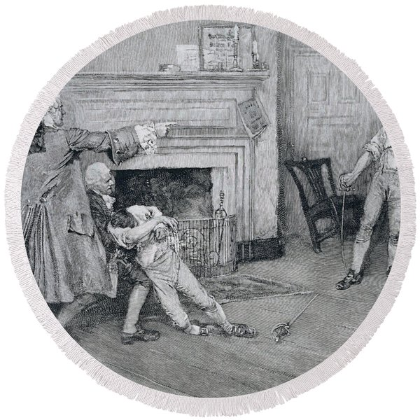 Meeting Of Captain Tollemache And Captain Pennington At The City Arms, Illustration From Old New Round Beach Towel