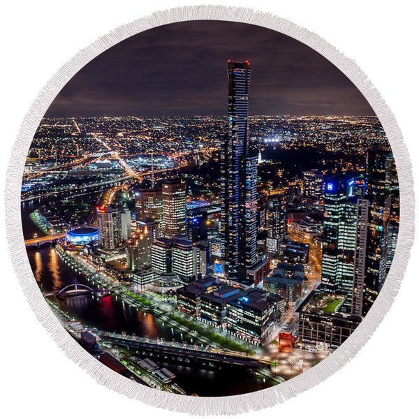 Melbourne At Night IIi Round Beach Towel