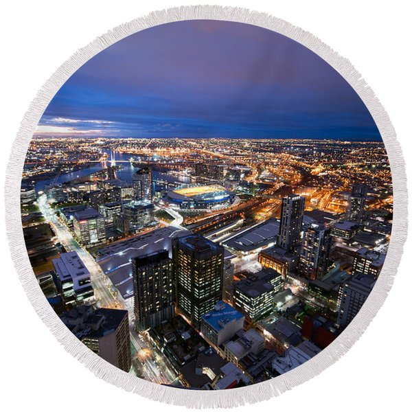 Melbourne At Night Round Beach Towel