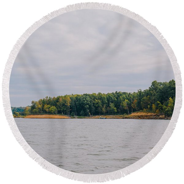 Men Fishing On Barren River Lake Round Beach Towel