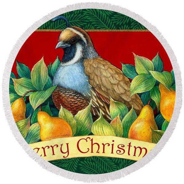 Merry Christmas Partridge Round Beach Towel