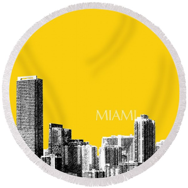 Miami Skyline - Mustard Round Beach Towel