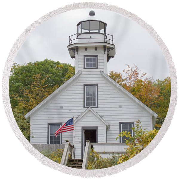 Mission Point Lighthouse Round Beach Towel