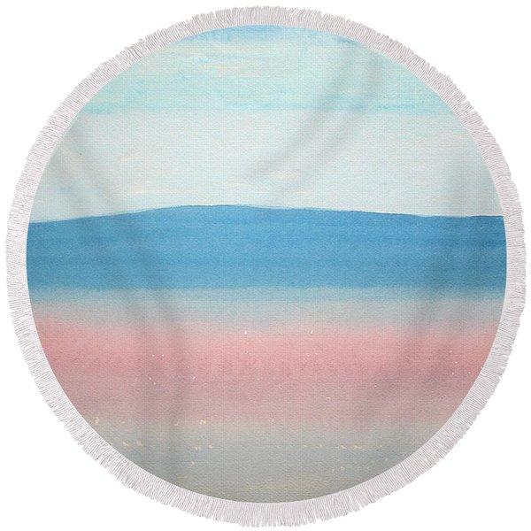 Misty Lake Original Painting Round Beach Towel